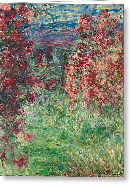 Rosebush Greeting Cards - The House at Giverny under the Roses Greeting Card by Claude Monet