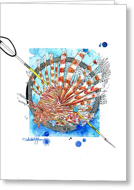 Scuba Diving Mixed Media Greeting Cards - The Hunt II Greeting Card by Amber M  Moran