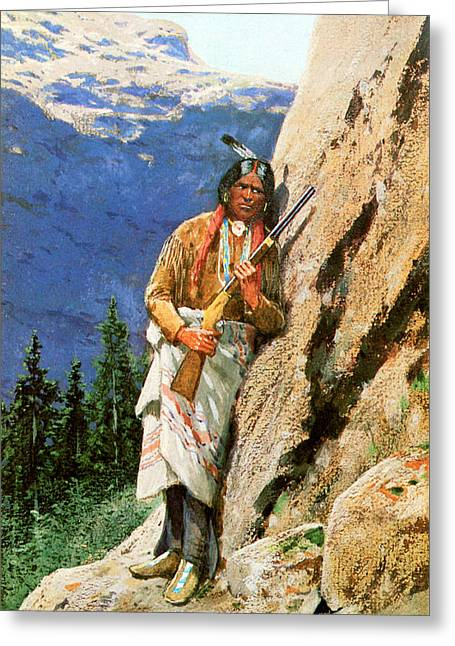 Indian Warrior Art Photographs Greeting Cards - The Hunter Greeting Card by Henry Farny