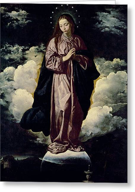 Virgin Mary Greeting Cards - The Immaculate Conception Greeting Card by Diego Rodriguez de Silva y Velazquez