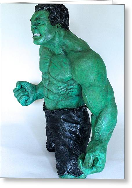Great Sculptures Greeting Cards - The Incredible Hulk Greeting Card by Wayne Headley