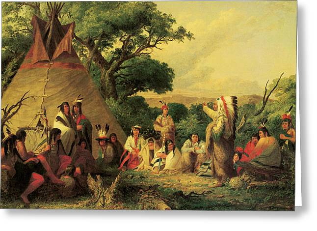 Indian Warrior Art Photographs Greeting Cards - The Indian Council Greeting Card by Seth Eastman