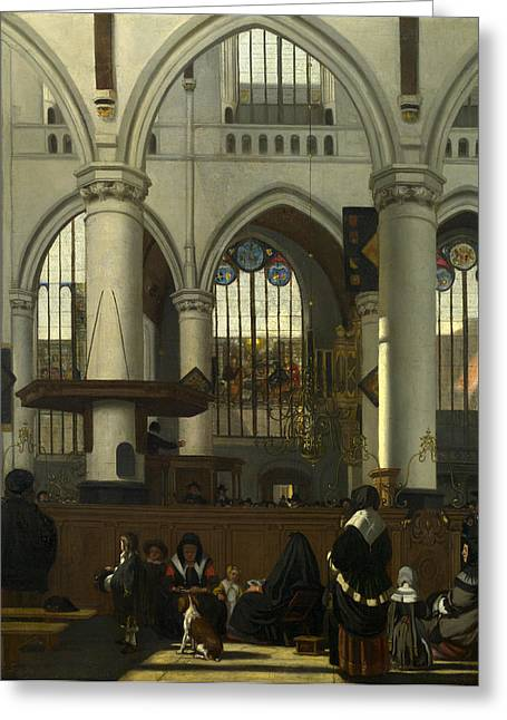 Emanuel Greeting Cards - The Interior of the Oude Kerk. Amsterdam Greeting Card by Emanuel de Witte