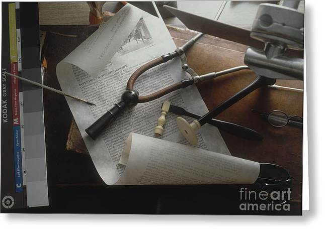 Medical Supplies Greeting Cards - The Invention Of The Stethoscope Greeting Card by Brooks / Brown