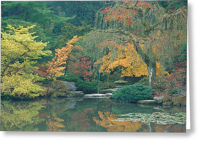 Overcast Day Greeting Cards - The Japanese Garden Seattle Wa Usa Greeting Card by Panoramic Images