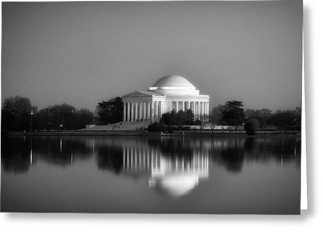 Jefferson Greeting Cards - The Jefferson Memorial Sunset Reflections Greeting Card by Mountain Dreams