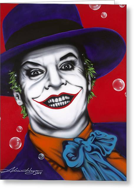 Television Paintings Greeting Cards - The Joker Greeting Card by Alicia Hayes