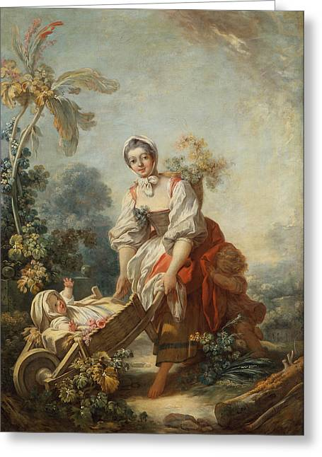 Honore Greeting Cards - The Joys of Motherhood Greeting Card by Jean-Honore Fragonard