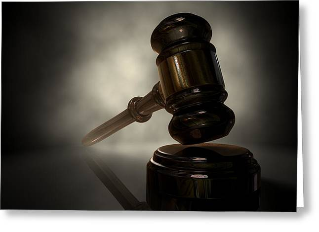 Debt Greeting Cards - The Justice Gavel Greeting Card by Allan Swart
