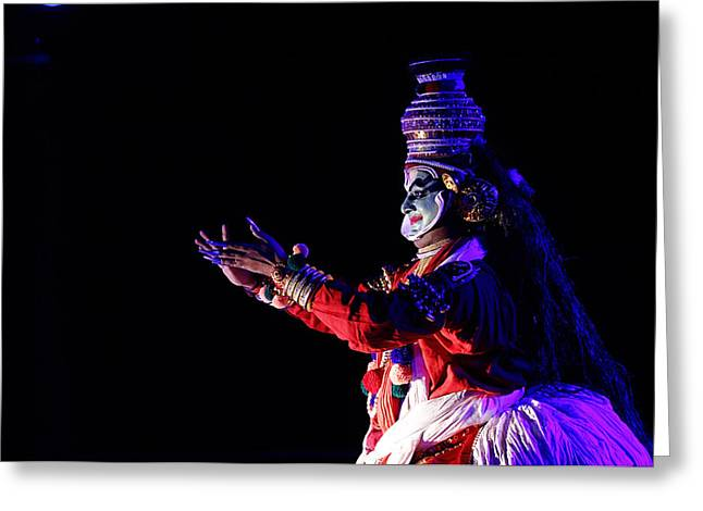 Money Sharma Greeting Cards - The Kathakali Dance Greeting Card by Money Sharma
