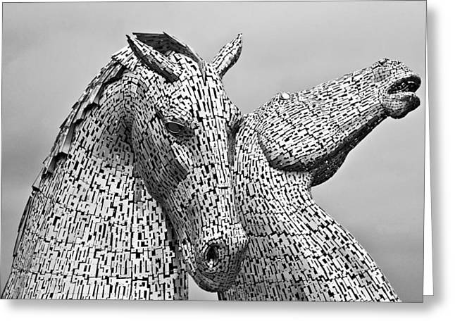 Recently Sold -  - Helix Greeting Cards - The Falkirk Kelpies Greeting Card by Mike Marsden