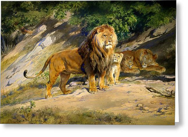 Lioness Greeting Cards - The King Watches Greeting Card by Rosa Bonheur