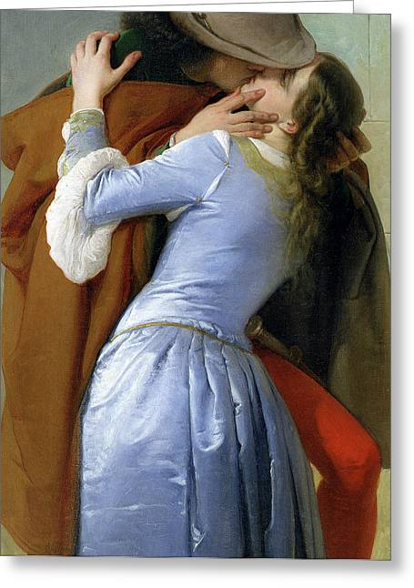 Lovers Embrace Greeting Cards - The Kiss Greeting Card by Francesco Hayez