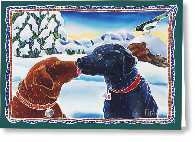 Whimsical Dog Art Greeting Cards - The Kiss Greeting Card by Harriet Peck Taylor
