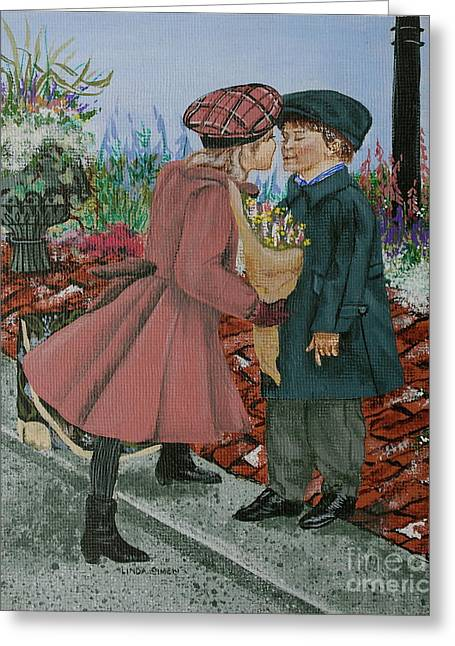 The Kiss Greeting Card by Linda Simon