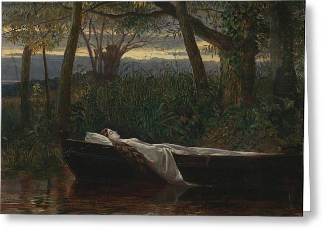 Lady In Lake Greeting Cards - The Lady of Shalott Greeting Card by Walter Crane