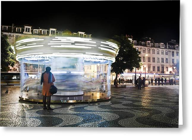Taxi Stands Greeting Cards - The Lady Of The Carousel Greeting Card by Joel Vieira