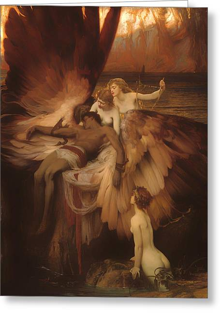 Sympathy Paintings Greeting Cards - The Lament for Icarus Greeting Card by Herbert Draper