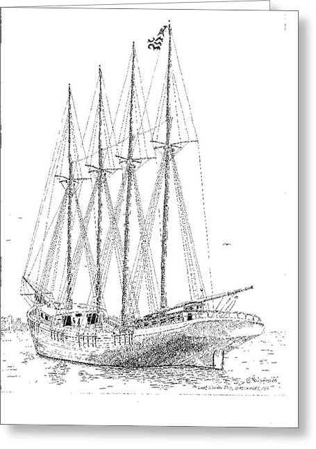 Water Vessels Drawings Greeting Cards - The Last Wooden Ship Greeting Card by L D Williams