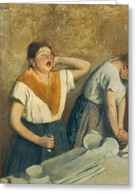 Doing Laundry Greeting Cards - The Laundresses Greeting Card by Edgar Degas