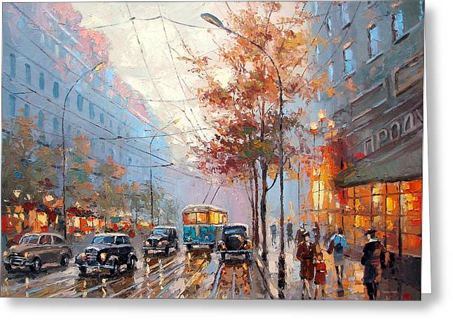 Crosswalk Greeting Cards - The lights of the city Greeting Card by Dmitry Spiros