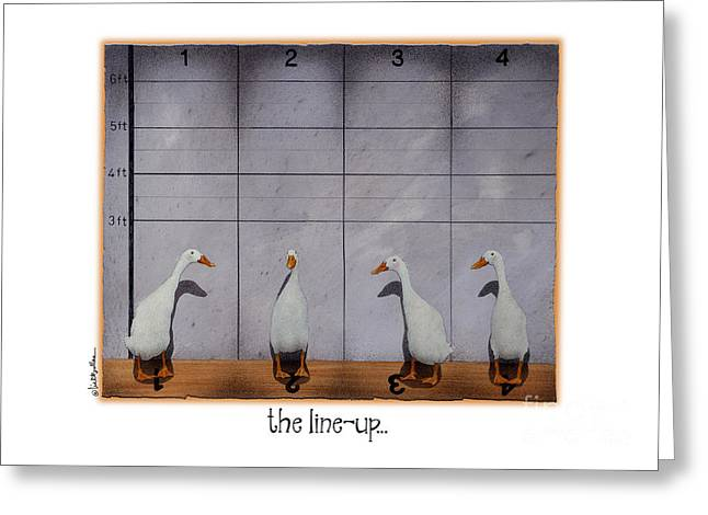 Humorous Greeting Cards Paintings Greeting Cards - The Line-up... Greeting Card by Will Bullas