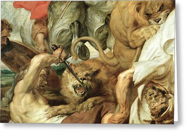 Violent Greeting Cards - The Lion Hunt Greeting Card by Peter Paul Rubens