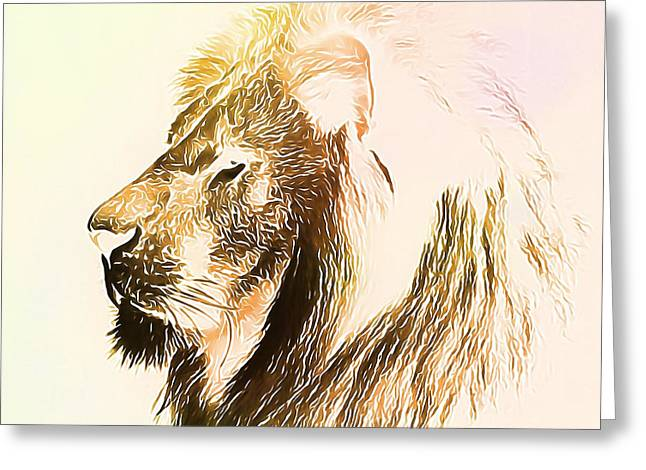 Lion And Lamb Greeting Cards - The Lion King Greeting Card by Dan Sproul
