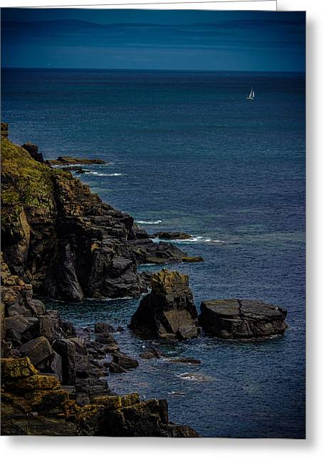 Rugged Cliffs Greeting Cards - The Lizard Cornwall Greeting Card by Martin Newman