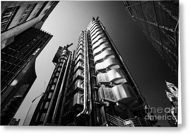 Inside Out Greeting Cards - The Lloyds Or Inside Out Building City Of London England Uk Greeting Card by Joe Fox