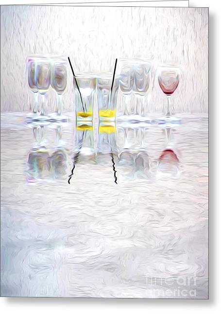 Wine Reflection Art Greeting Cards - The lonely red Greeting Card by Sheila Smart