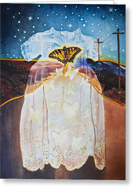 Cocoon Paintings Greeting Cards - The Long Highway Greeting Card by Larry Butterworth