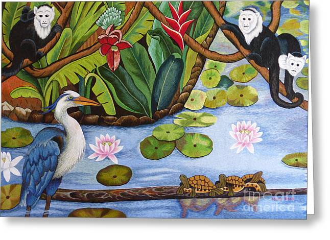 Lake Tapestries - Textiles Greeting Cards - The Lotus Pond hand embroidery Greeting Card by To-Tam Gerwe