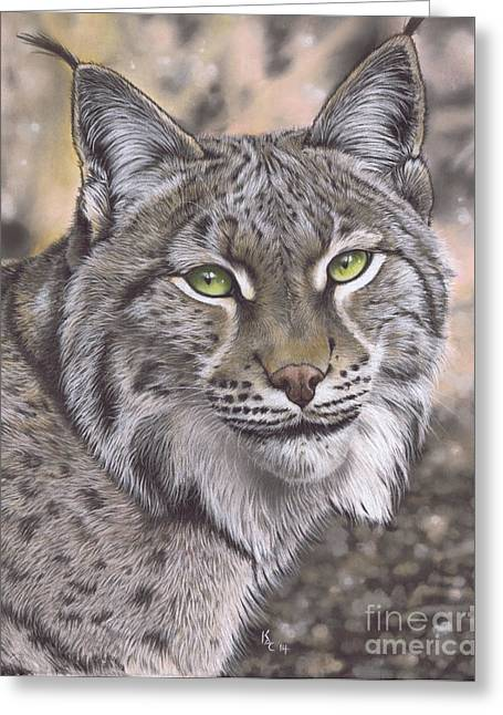 Bobcats Pastels Greeting Cards - The Lynx Effect Greeting Card by Karie-Ann Cooper