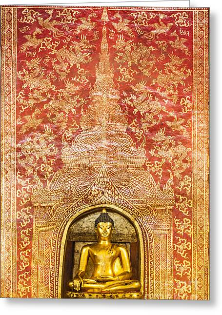 Painted Image Greeting Cards - The Main Buddha with golden Thai pattern backgroung Greeting Card by Anek Suwannaphoom