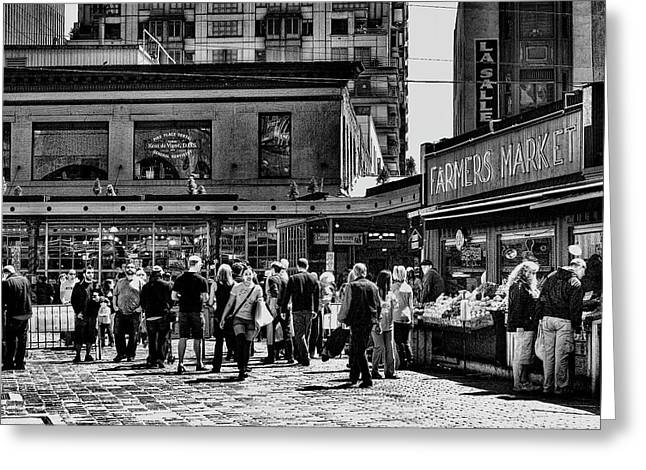 Center City Greeting Cards - The Market at Pike Place Greeting Card by David Patterson