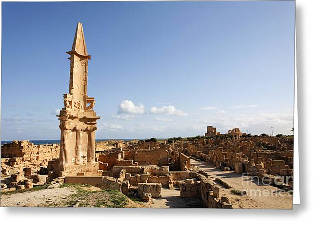 Paved Street Greeting Cards - The Mausoleum of Bes at Sabratha in Libya Greeting Card by Robert Preston