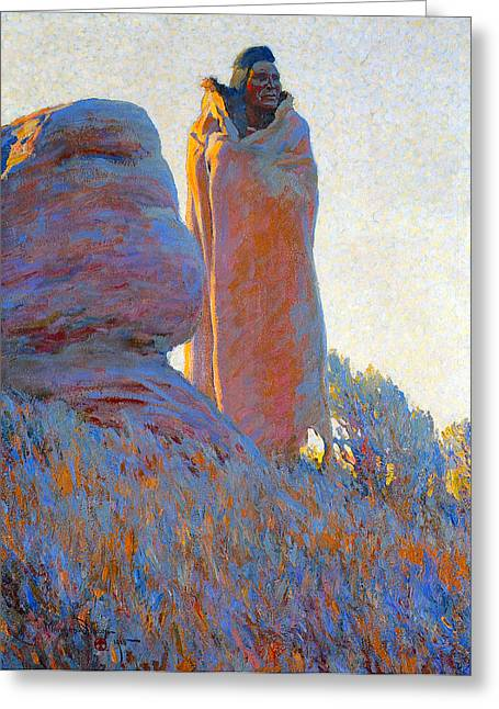 Indian Warriors Photographs Greeting Cards - The Medicine Robe Greeting Card by Maynard Dixon