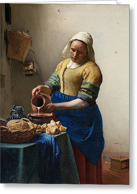 Vermeer Paintings Greeting Cards - The Milkmaid Greeting Card by Johannes Vermeer