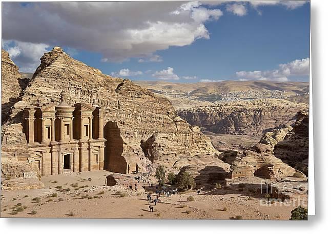 Al Deir Temple Greeting Cards - The Monastery El Deir or Al Deir Greeting Card by Juergen Ritterbach