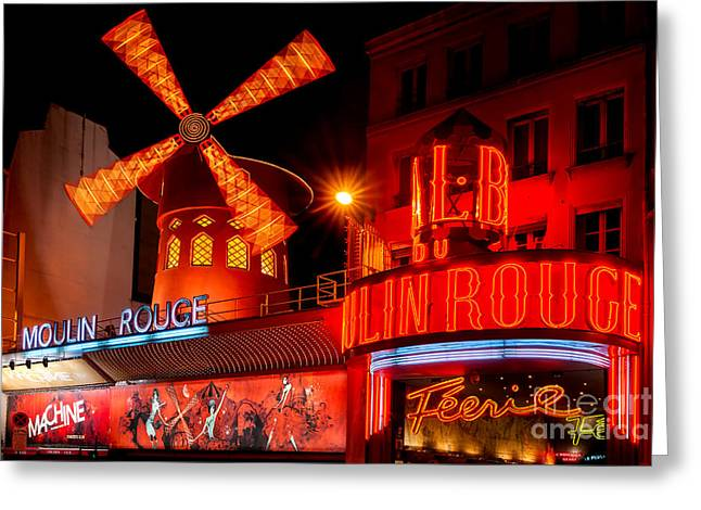 Scandalous Greeting Cards - The Moulin Rouge - Paris Greeting Card by Luciano Mortula