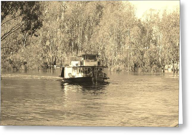 White Steamer Photos Greeting Cards - The Murray River Greeting Card by Andrew Hunt