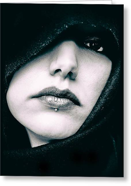 Hoodies Greeting Cards - The Mysterious Lady Greeting Card by Mountain Dreams