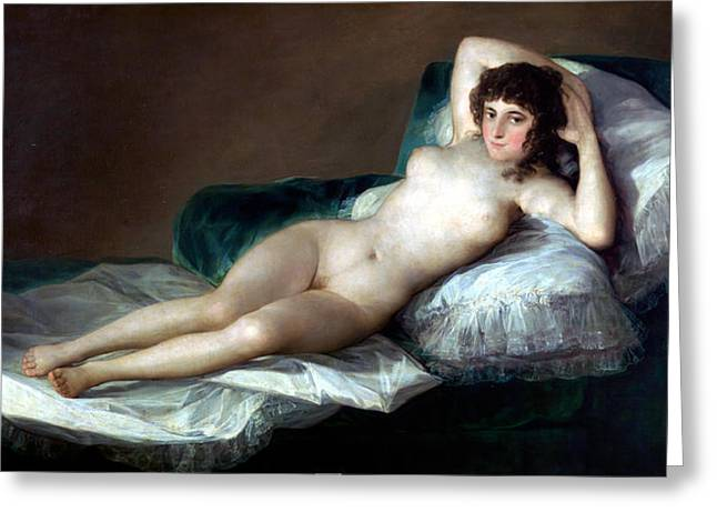 Historically Significant Greeting Cards - The Naked Maja Greeting Card by Francisco Goya