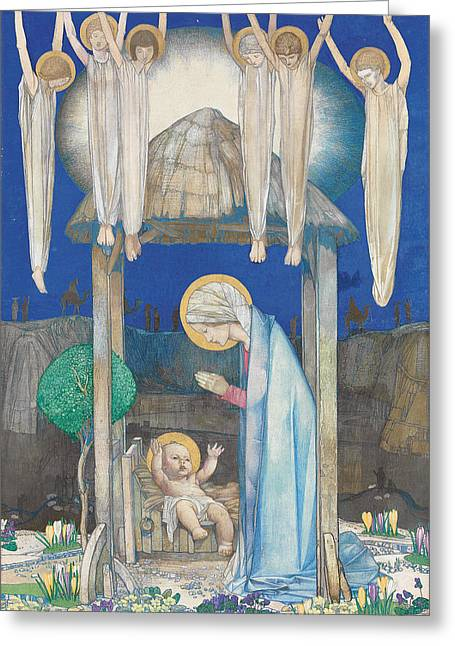 Virgin Mary Drawings Greeting Cards - The Nativity Greeting Card by Edward Reginald Frampton