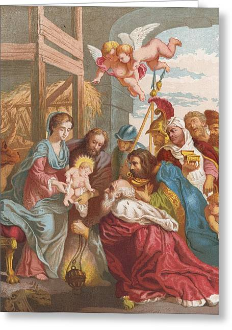 Bible Cards Greeting Cards - The Nativity Greeting Card by English School
