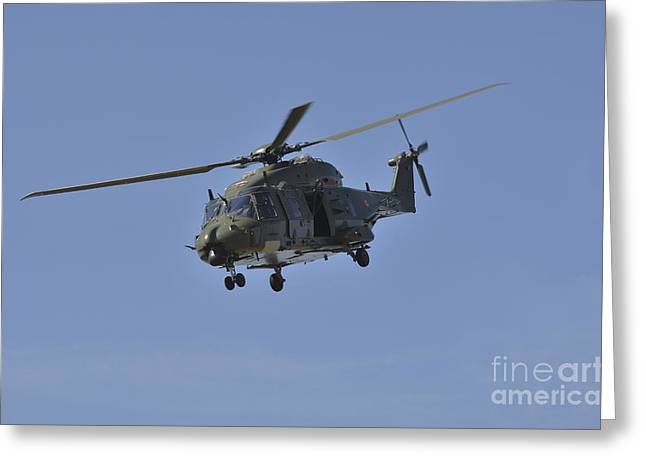 Belgian Army Greeting Cards - The Nh90 Helicopter Introduced In 2014 Greeting Card by Luc De Jaeger