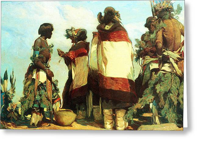 Indian Warrior Art Photographs Greeting Cards - The Niman Kachinas Greeting Card by Carl Oscar Borg