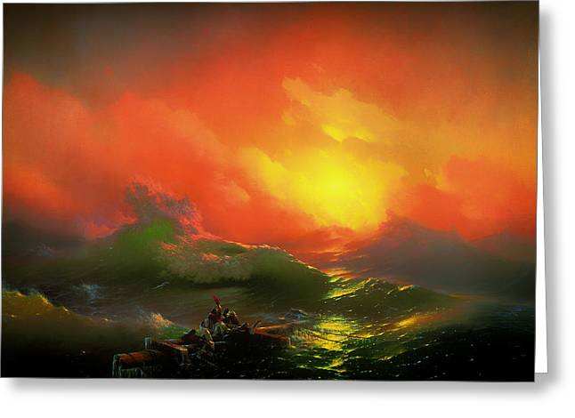 Survivor Art Paintings Greeting Cards - The Ninth Wave Greeting Card by Aivazovsky