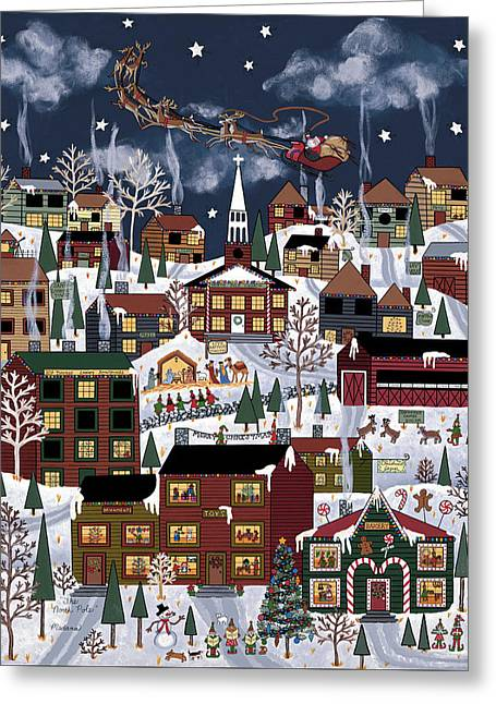 Christmas Eve Paintings Greeting Cards - The North Pole Greeting Card by Medana Gabbard